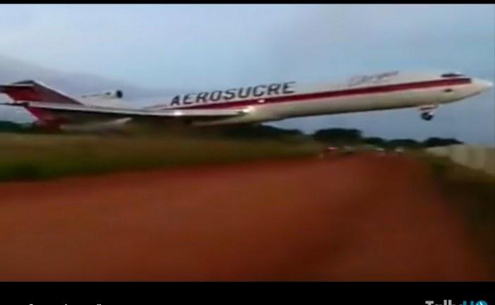Boeing 727 de Aerosucre sufre accidente en Aeropuerto Germán Olano en Colombia