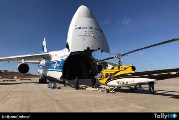 Arribaron a Chile los refuerzos de helicópteros Bell 205, K-MAX 1200 a bordo de un Antonov 124