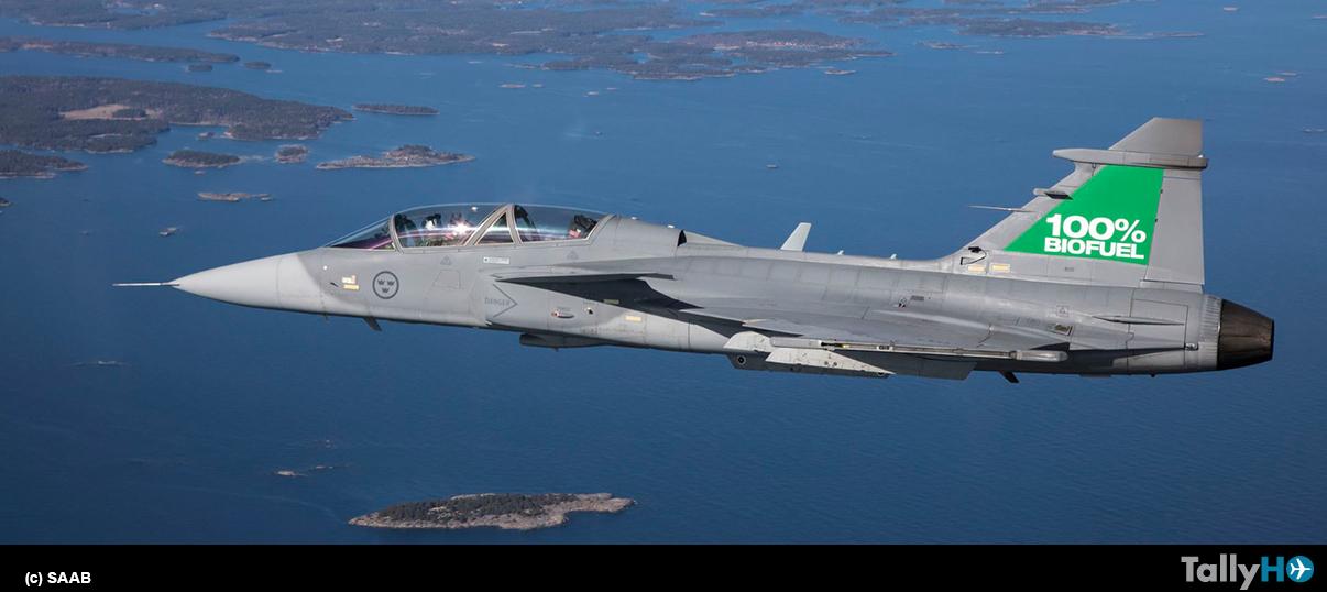 Saab Gripen completó exitosamente pruebas de vuelo usando 100% de biocombustible