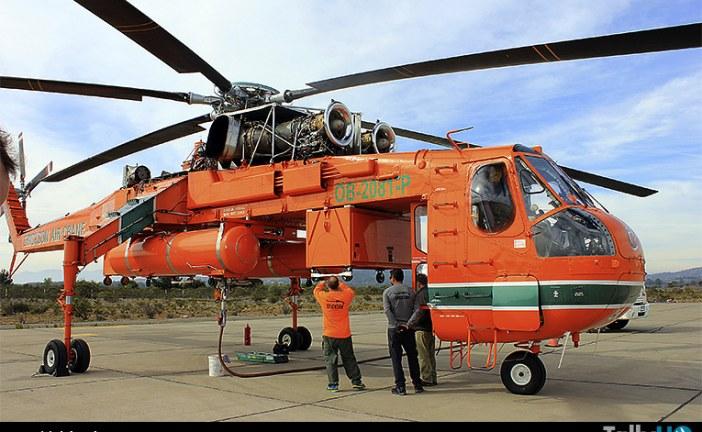 """Helicóptero S-64 Skycrane """"Elvis"""" se despidió de Chile"""