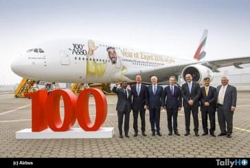 Aerolínea Emirates da la bienvenida a su flota a su A380 número cien