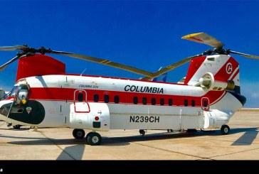 Ya está en Chile el enorme Boeing Vertol 234 para el combate de incendios forestales