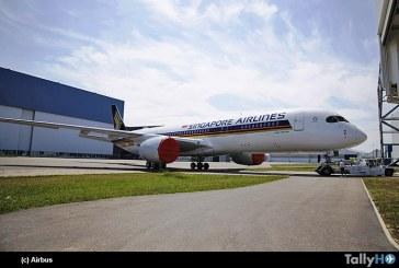 Primer Airbus A350 XWB de Ultra Largo Alcance fue presentado con esquema de pintura de Singapore Airlines