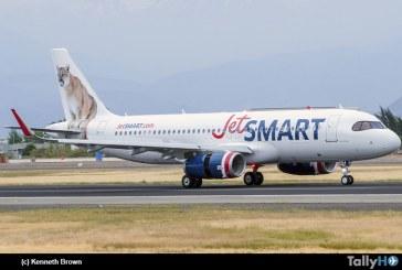 """Arribó a Chile nuevo Airbus A-320 """"Puma» el sexto de la flota JetSMART"""