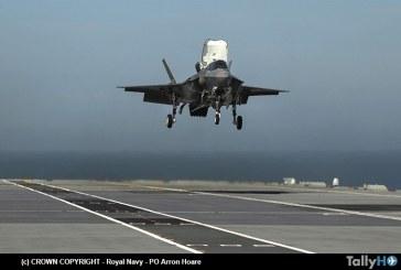 Aviones F-35 realizan primer aterrizaje en el nuevo portaaviones HMS Queen Elizabeth