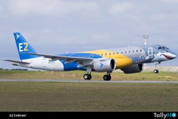 El Embraer E190E2 Jet «Tiburón» completó su gira mundial