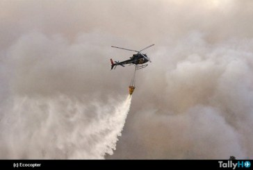 Ecocopter en estado de alerta y combatiendo incendios forestales desatados en el sur de Chile