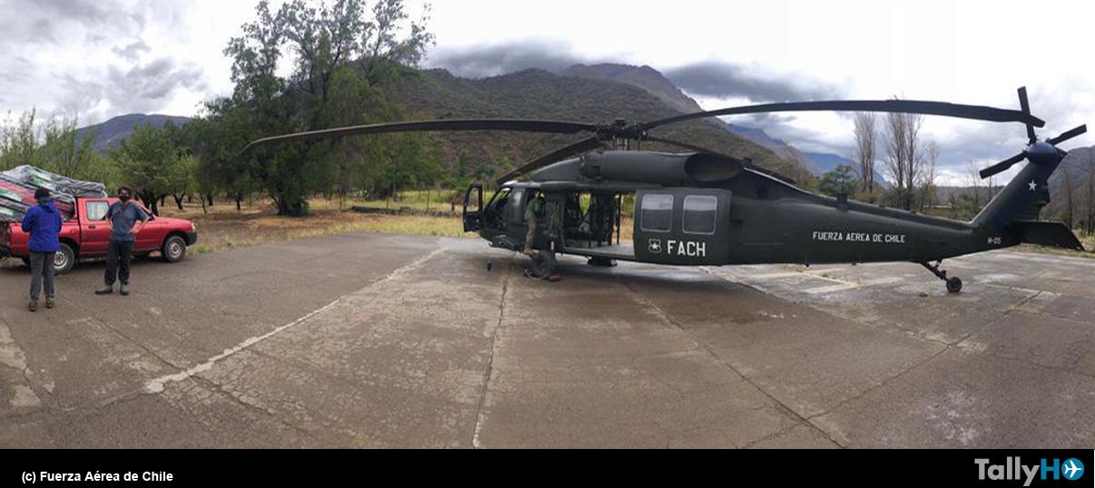 Operaciones aéreas de apoyo  a zonas afectadas por aluviones en la precordillera