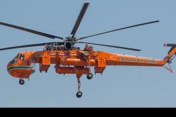 Ya está en Concepción el helicóptero S64F Aircrane llamado «Elvis»